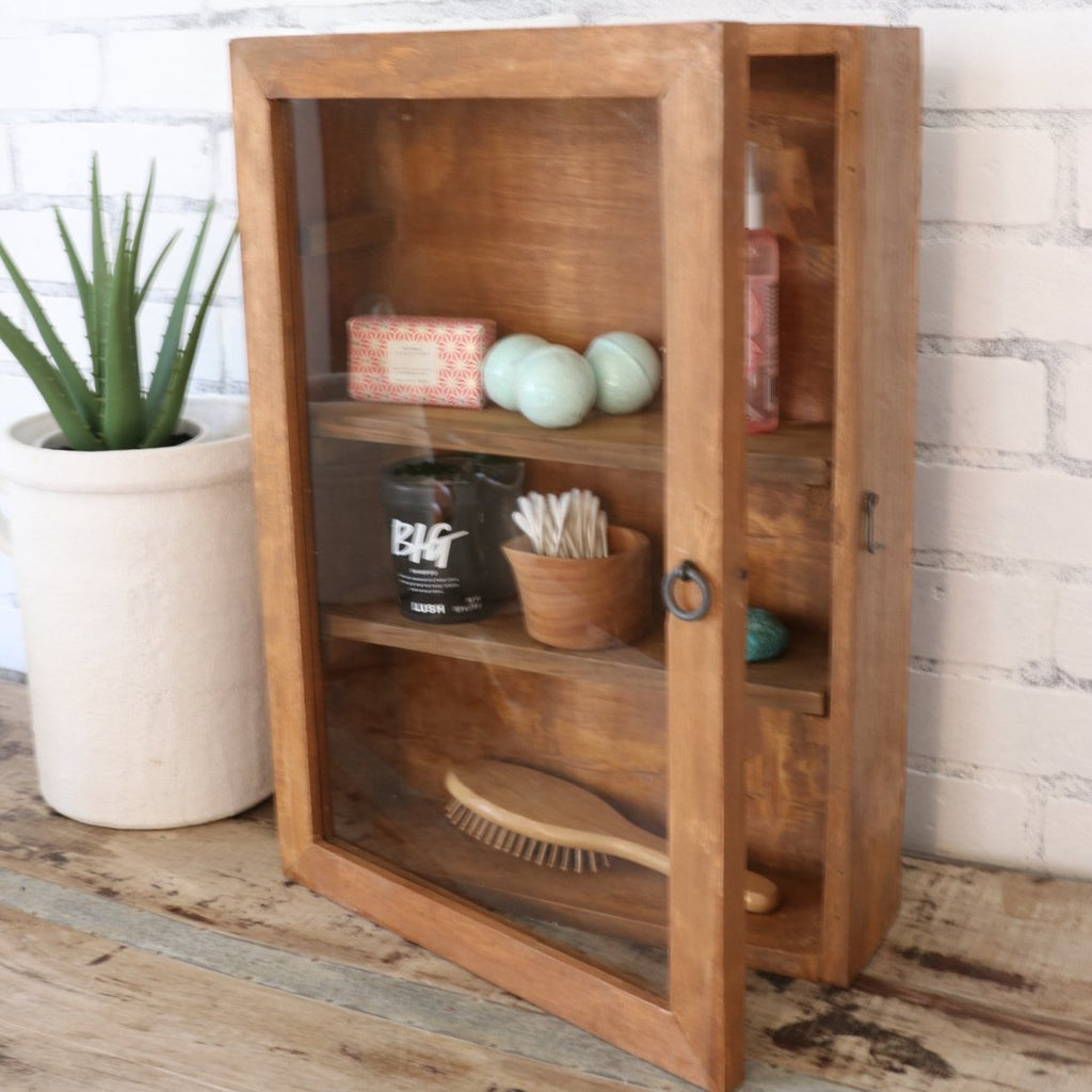 rustic wood cabinet farmhouse wall display case in natural wood with glass