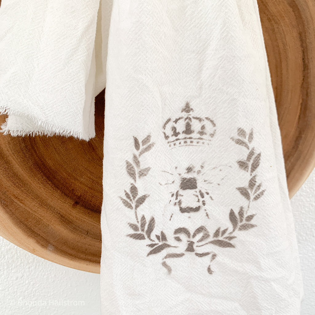 French Queen Bee Linen Tea Towel