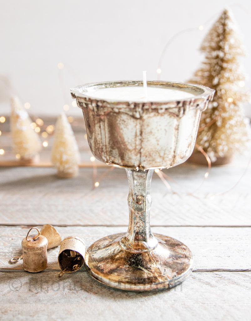 Mercury Glass Goblet Candle