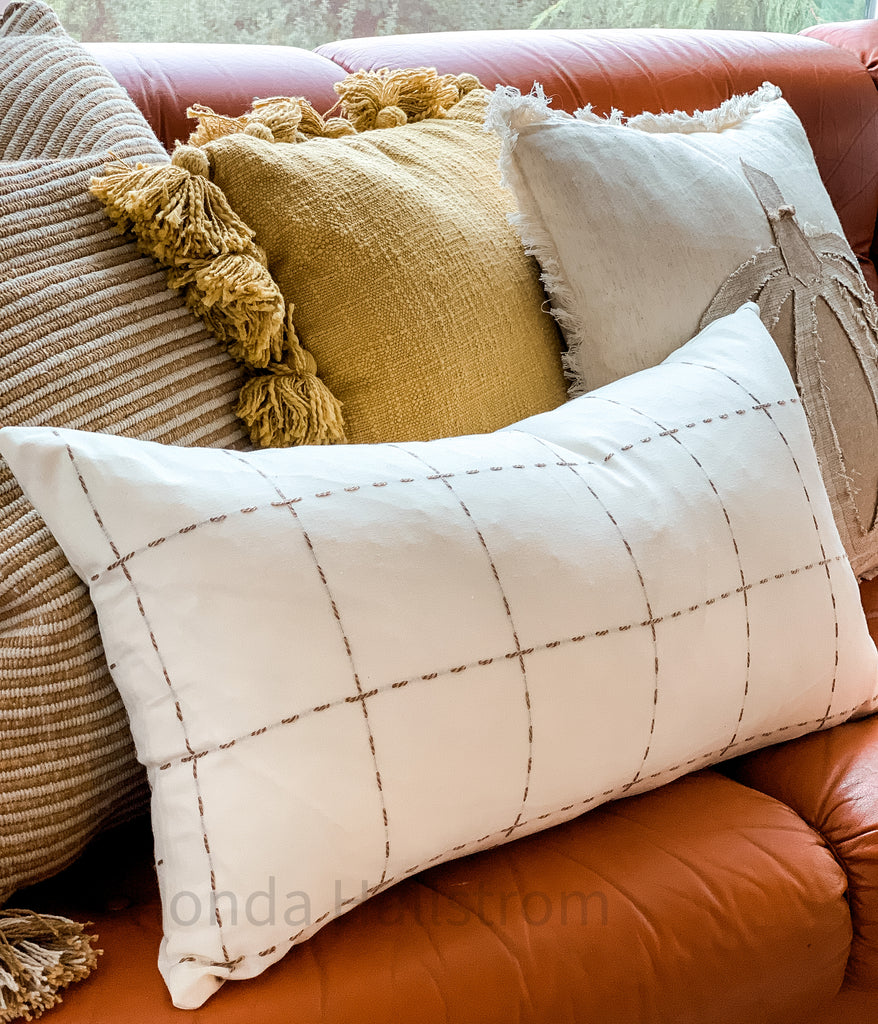 Brown Lumbar Check Pillow