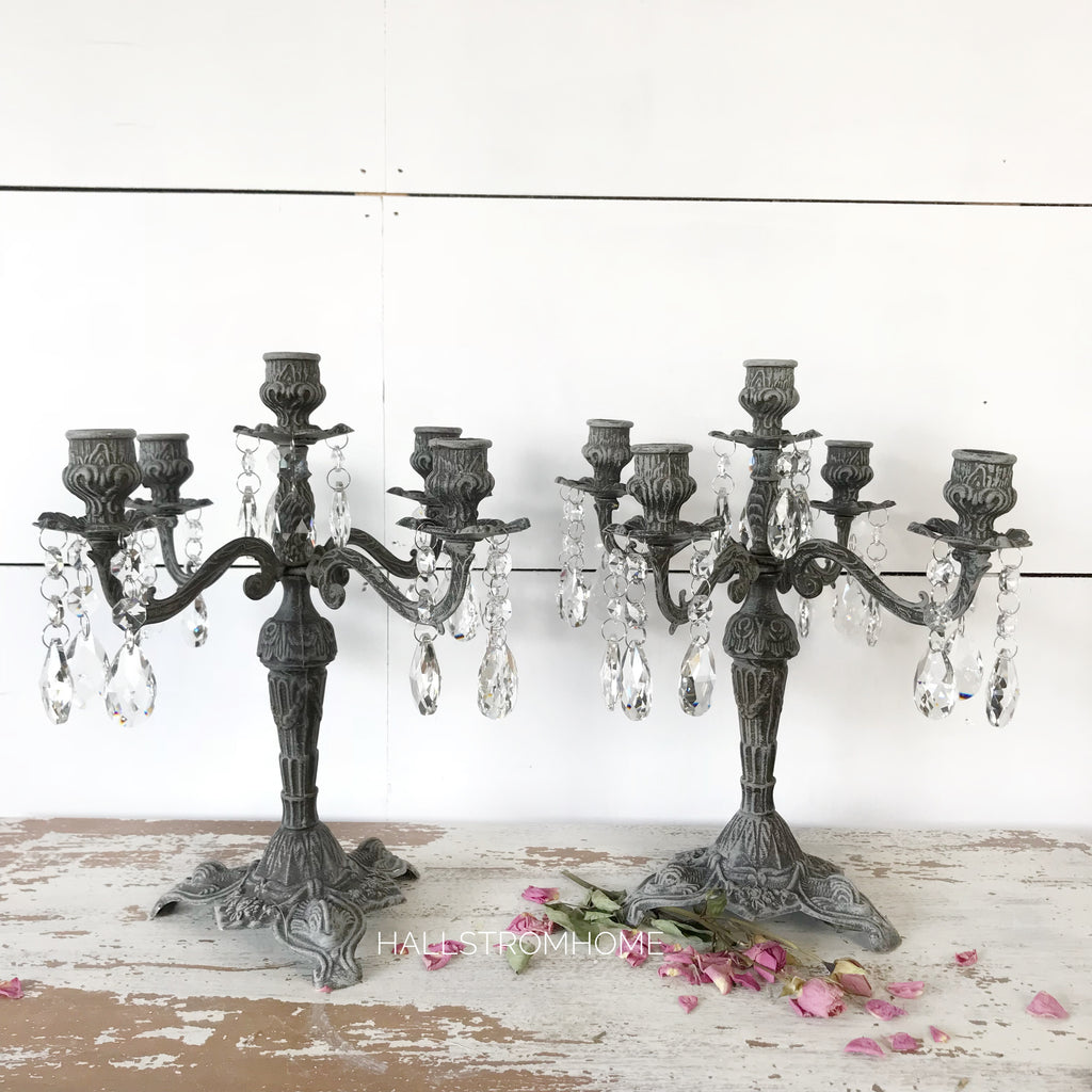 French Chic Crystal Candelabra
