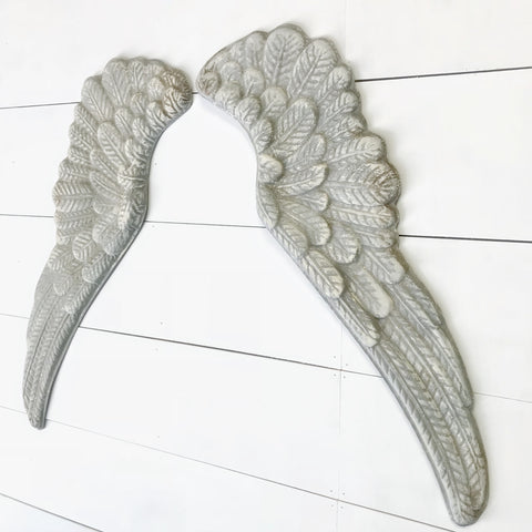 White Metal Angel Wing Wall Decor