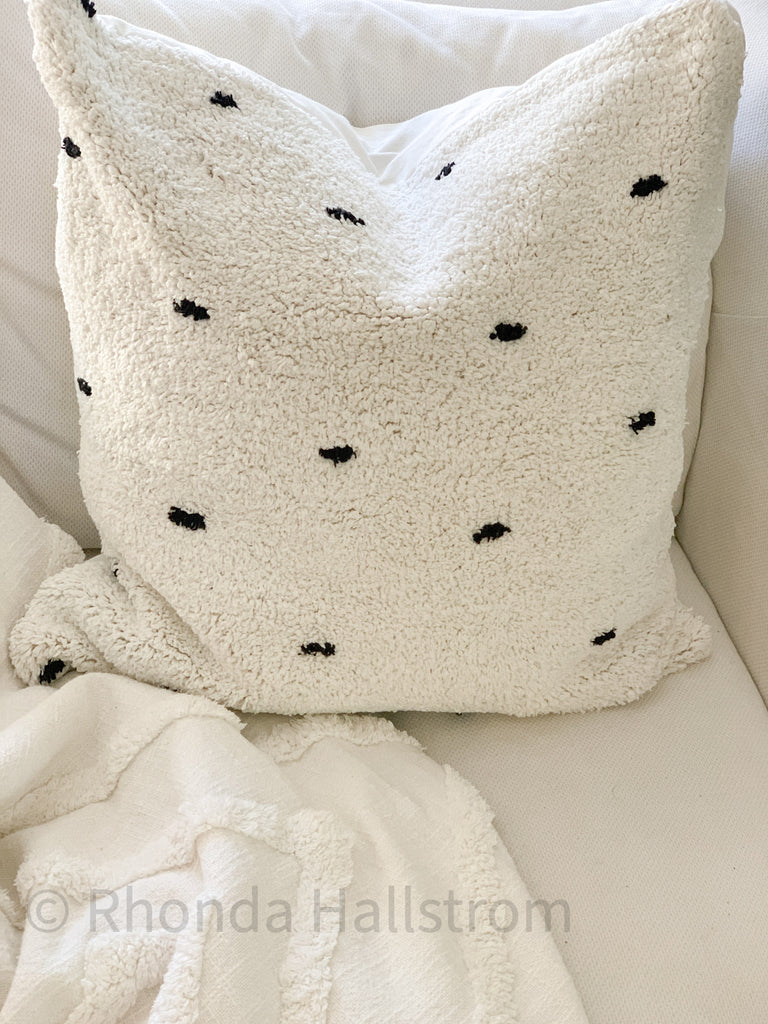"24"" Tufted Polka Dot Pillow"