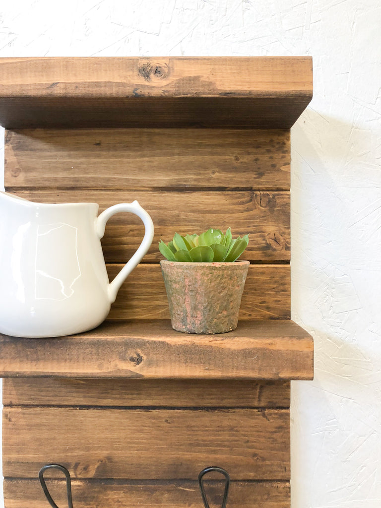Dark Wood Modern Bathroom Wall Shelf, Farmhouse Decor