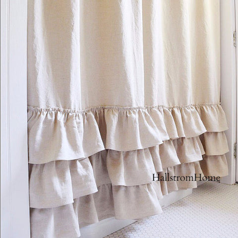 Natural Linen Shower Curtain Ruffled - Hallstrom Home - 1