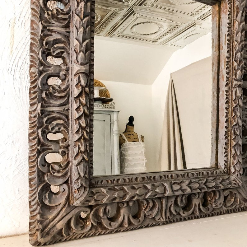 Distressed Gray Wood Framed Mirror