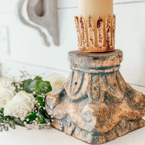 French Blue and Gold Pedestal