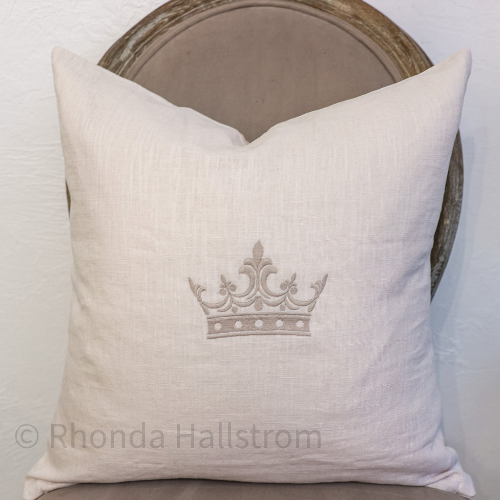 Linen French Crown Pillow