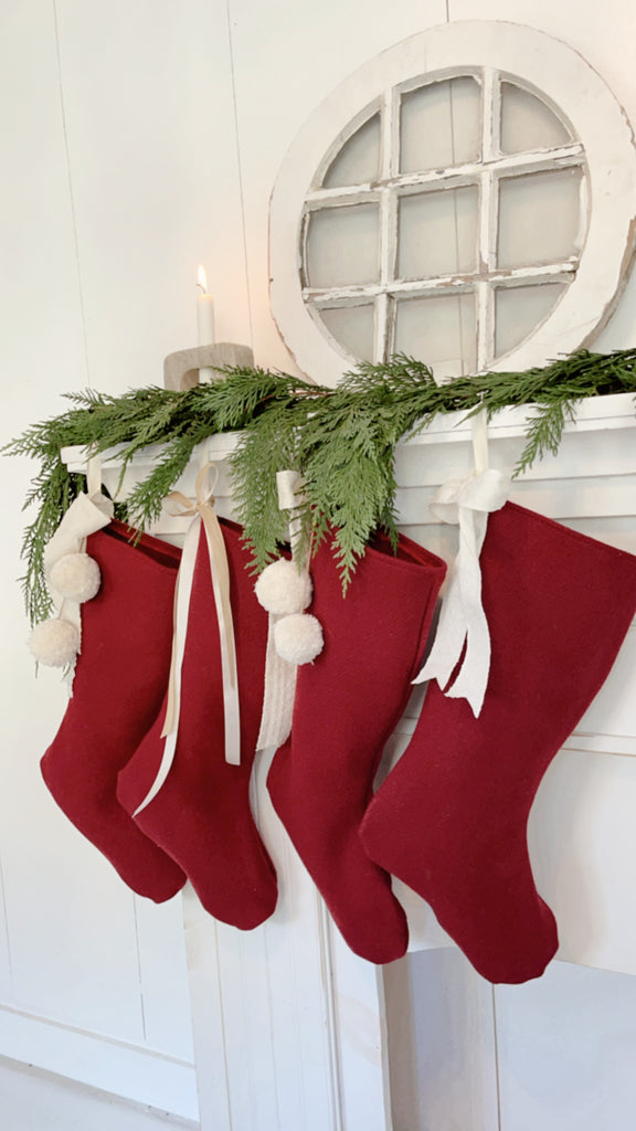 Red Wool Christmas Stocking/ Farmhouse Style