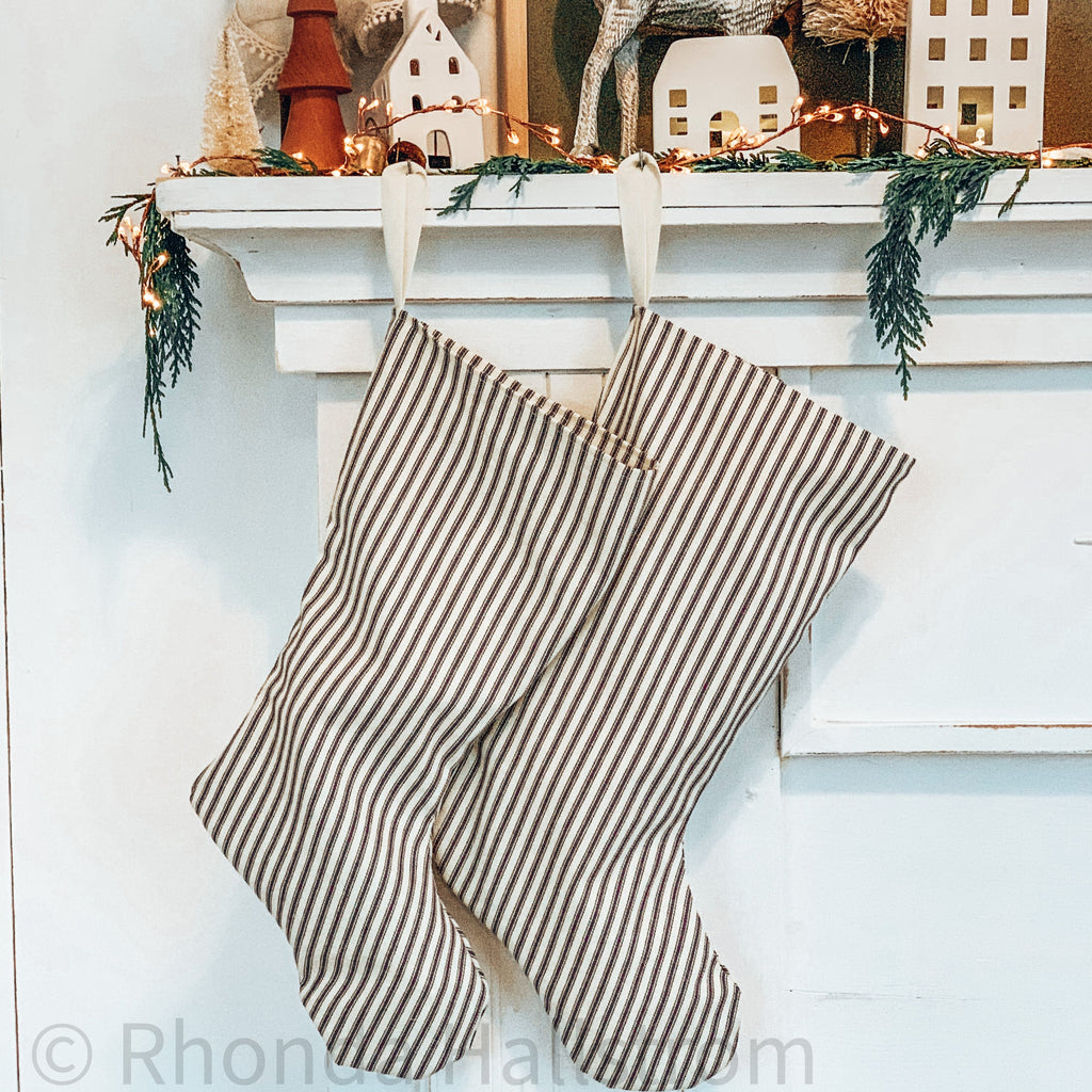 Blue Ticking Stripe Christmas Stocking
