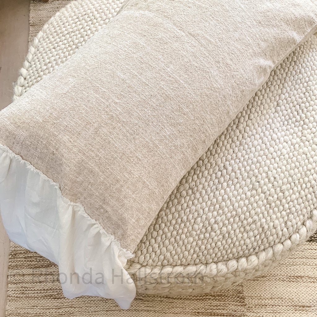 Flax Linen Lumbar Pillow with Ruffles