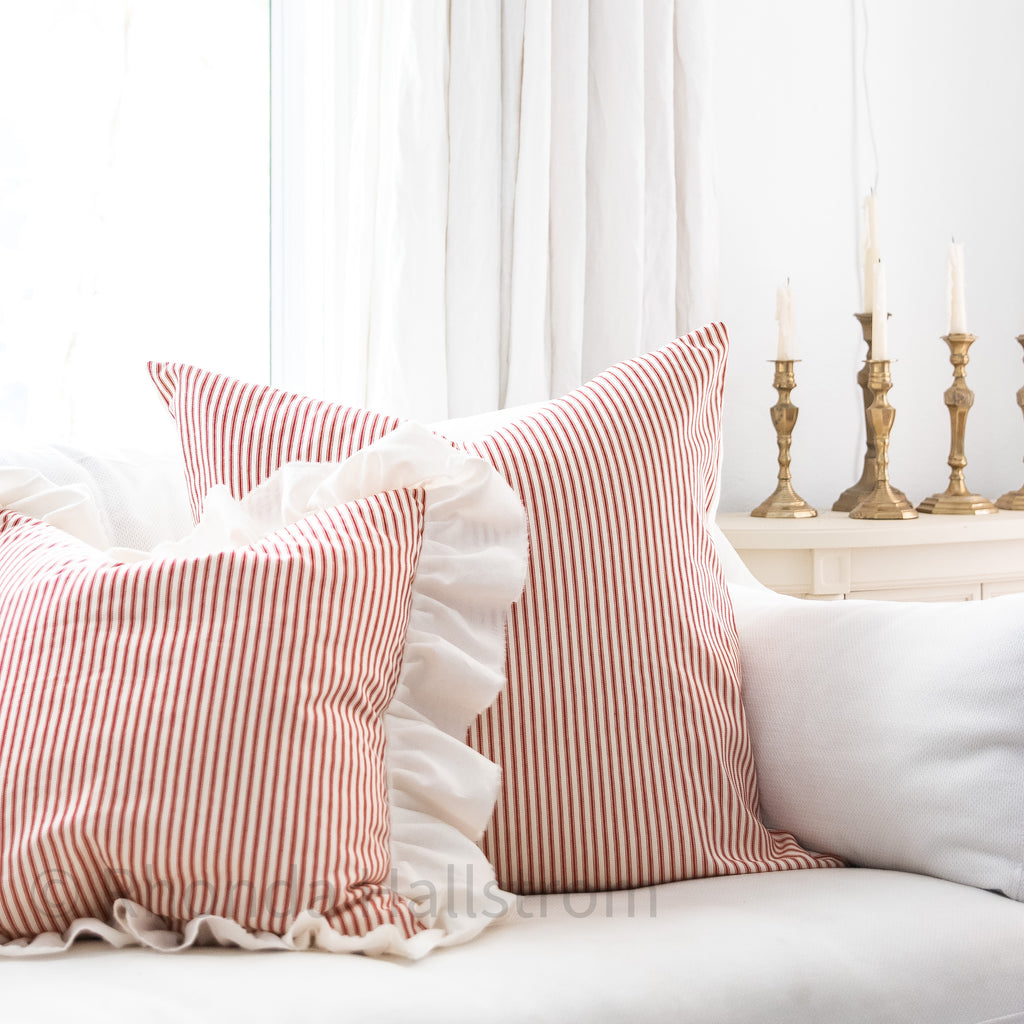 French Vintage Red Ticking Stripe Euro Pillow