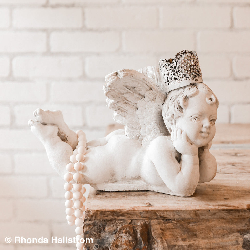 French Nordic Angel Statue with Crown