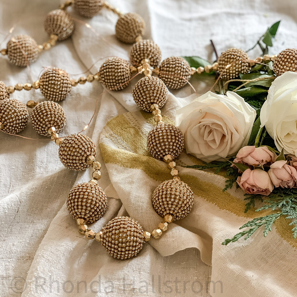 gold ball garland holiday home decor bead strand