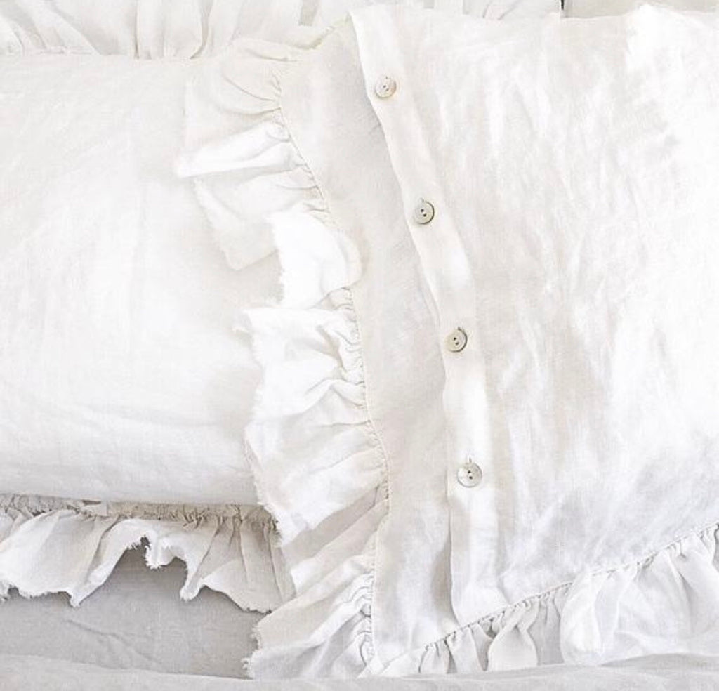 White Ruffle Linen Pillow Shams in Shabby Chic Style