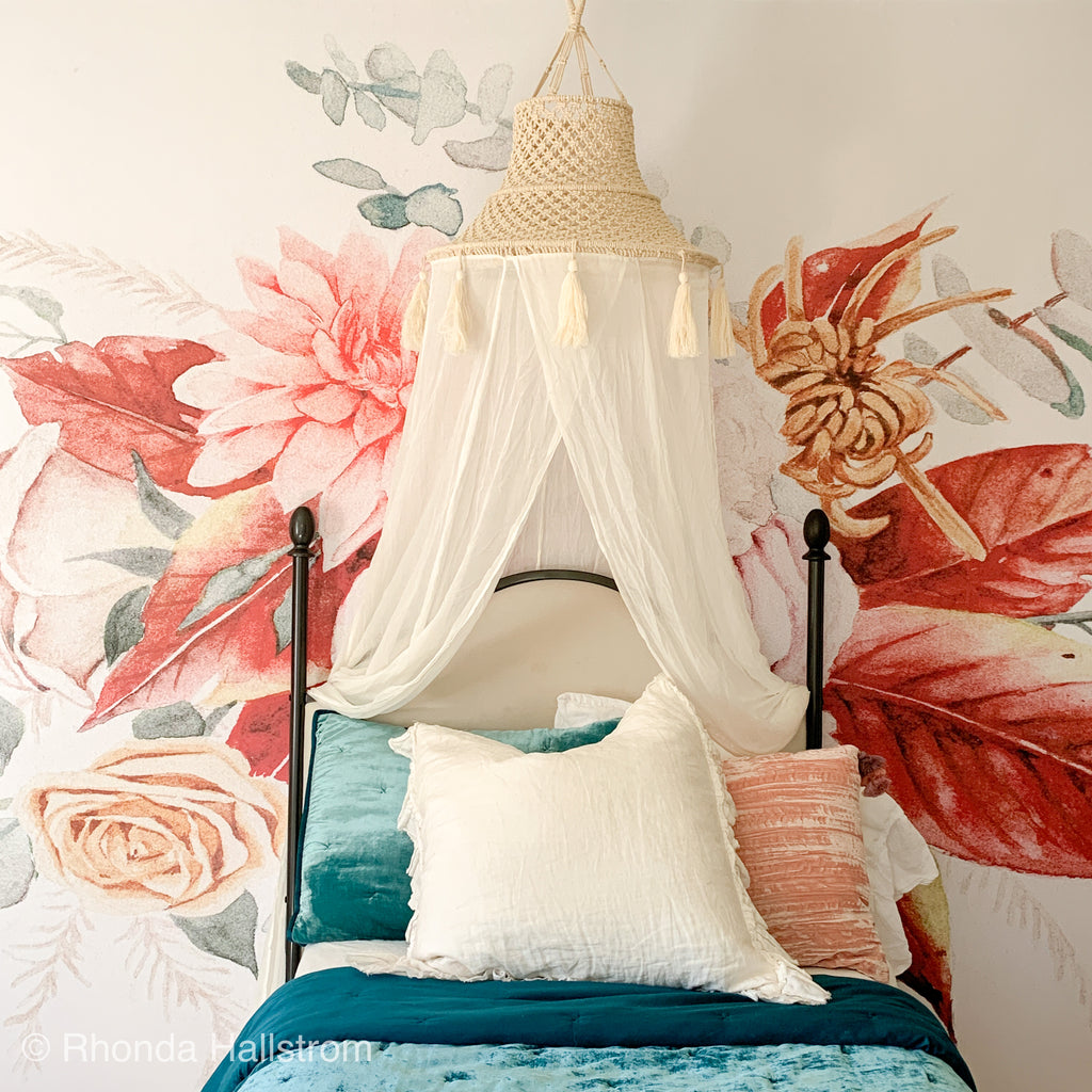 Macrame Boho Bed Canopy with Tassels