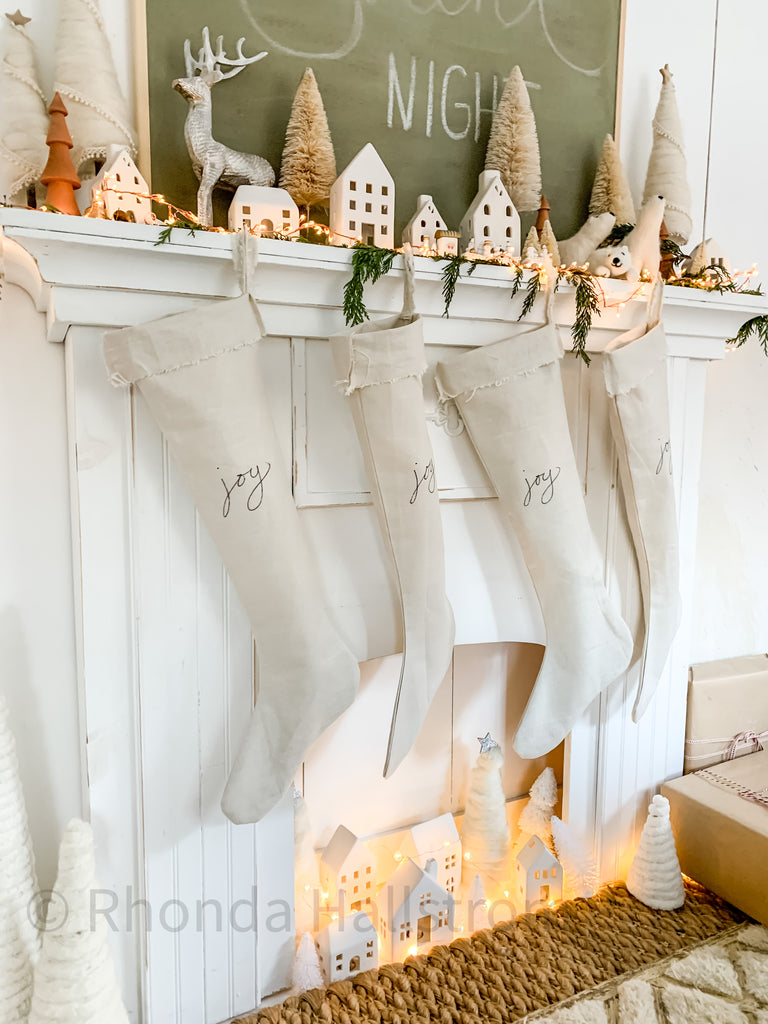 Long Linen Christmas Stocking/ French Nordic