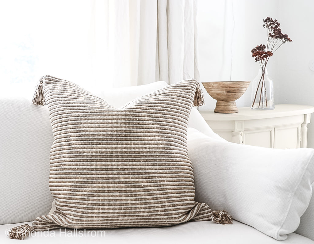 "Woven Stripe Pillow/ 24"" Modern Farmhouse Decor"