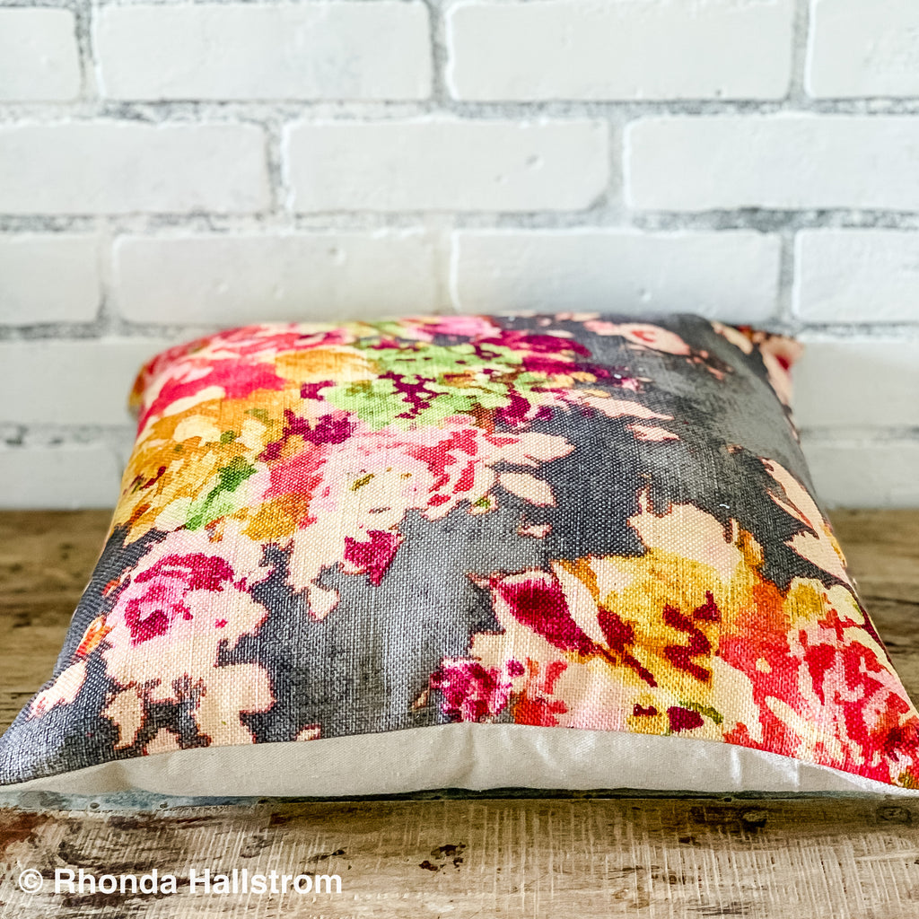 "Grey floral Pillow 20"" square"