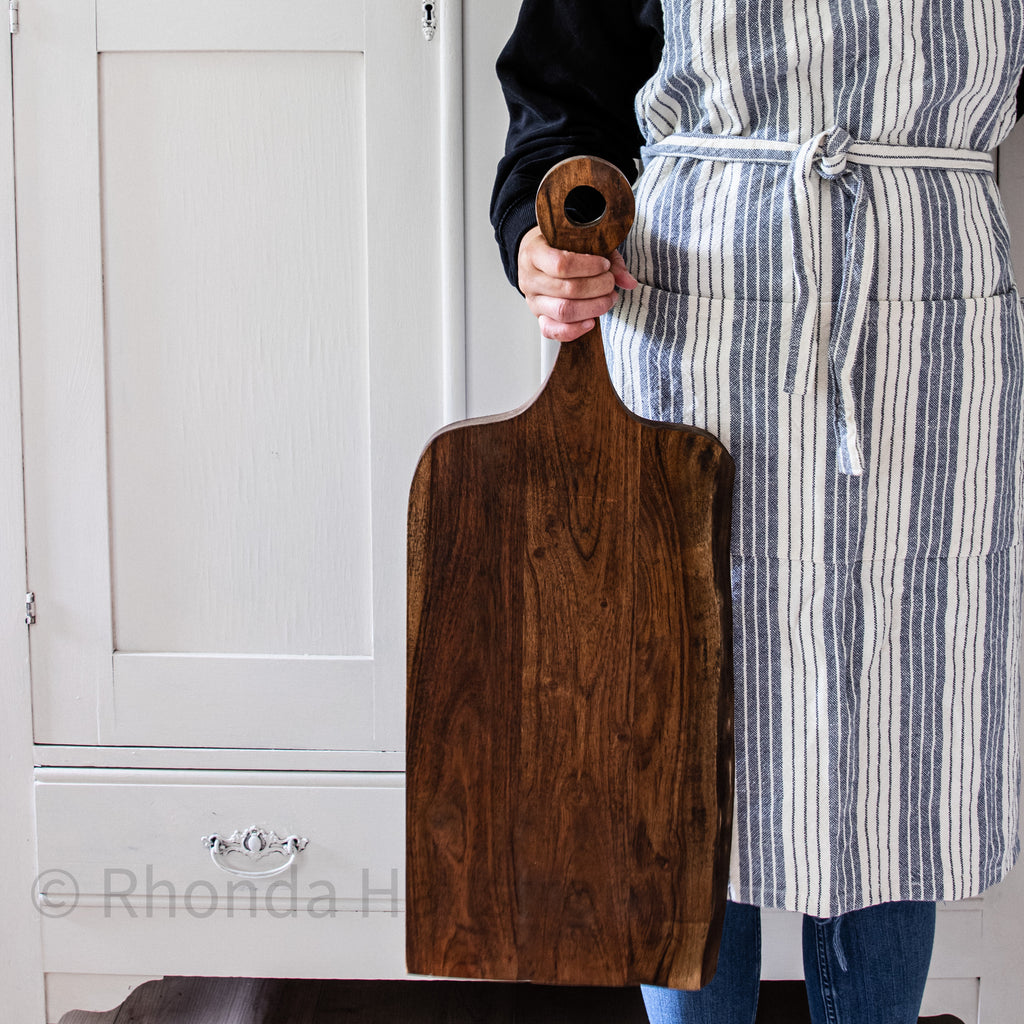 large wood cutting board with handle dark wood/ Charcuterie board