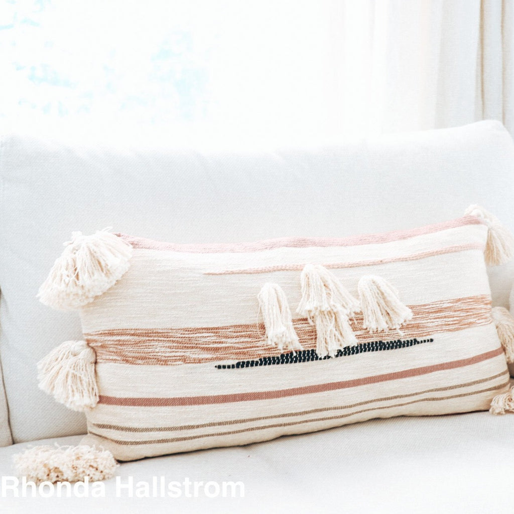 Pink Tassel Pillow/Pom Pom Throw Pillow Farmhouse Decor