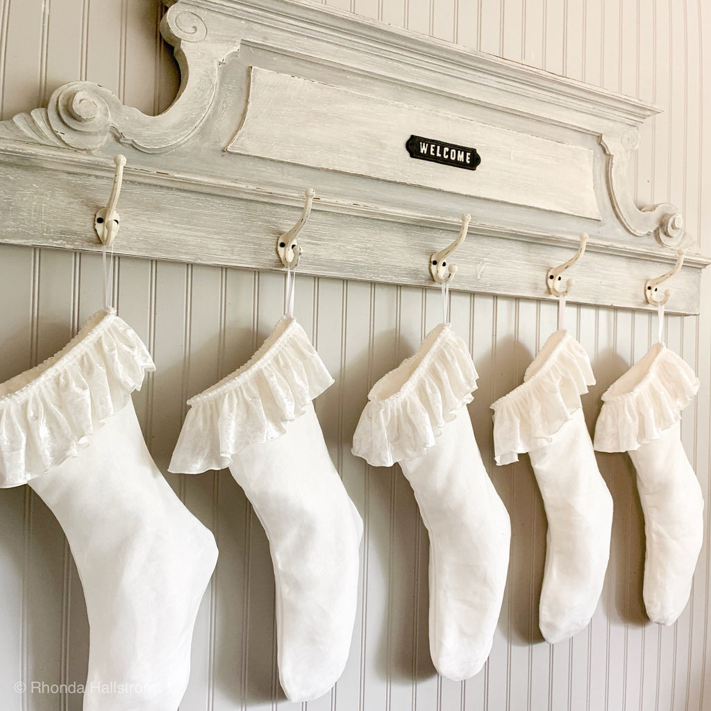 Linen Velvet Christmas Stocking