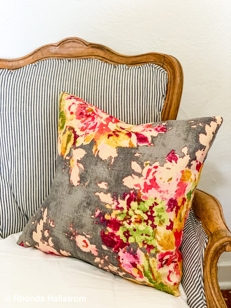 Grey Floral Print Throw Pillow