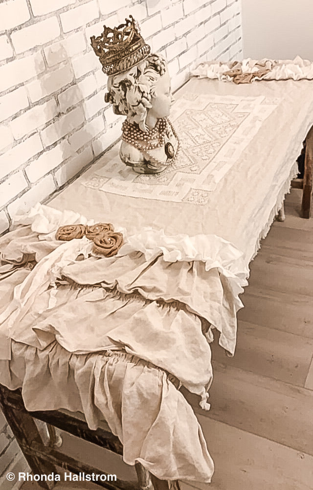 Tattered Ruffle Linen Table Runner Antique Lace