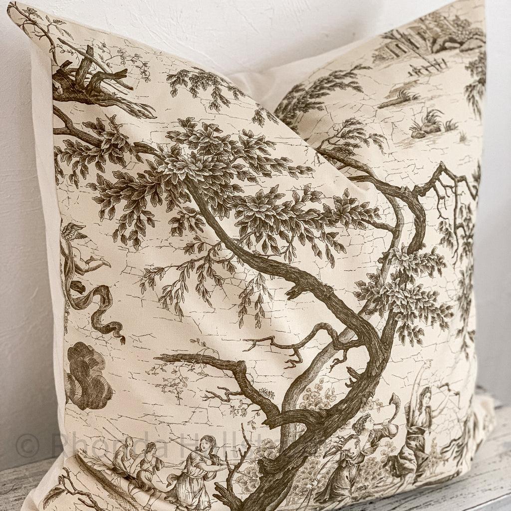 french vintage toile euro pillow