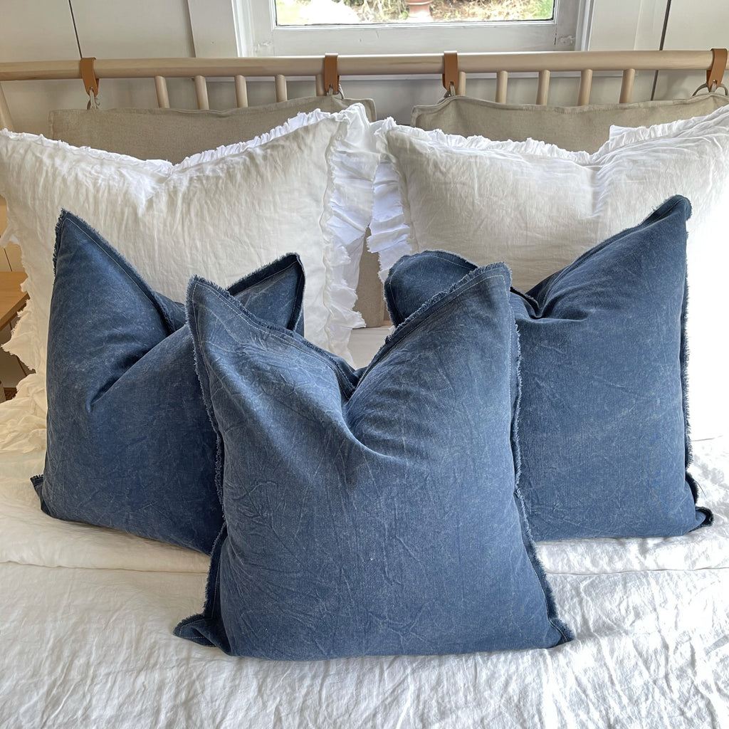Raw Edge Navy Blue Throw Pillow Cover