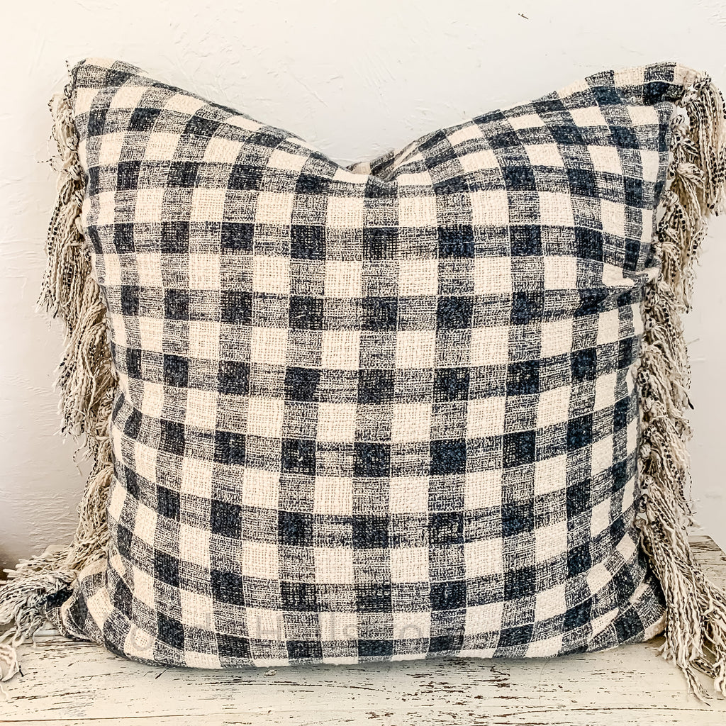 Blue Check Pillow with Fringe