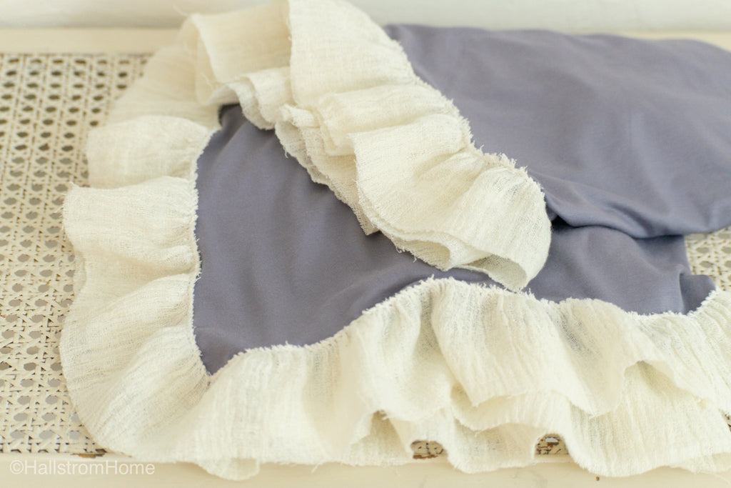 Organic Purple Knit Swaddle Blanket with Ruffle