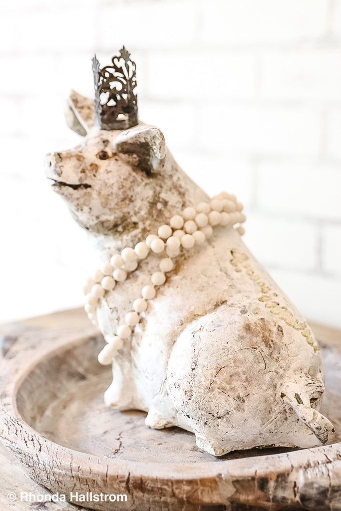 Nordic Pig Statue with Crown