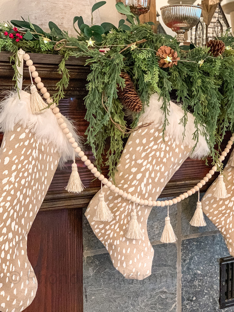 Feather Trim Christmas Stockings Deer Print