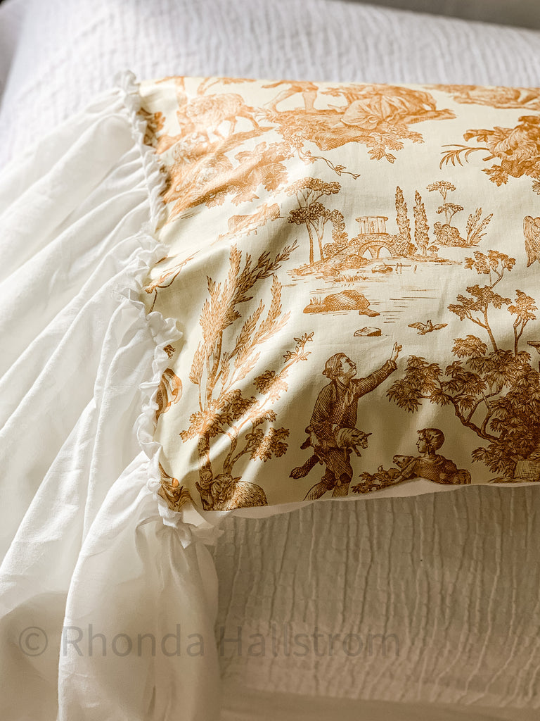 french toile pillow sham with ruffle