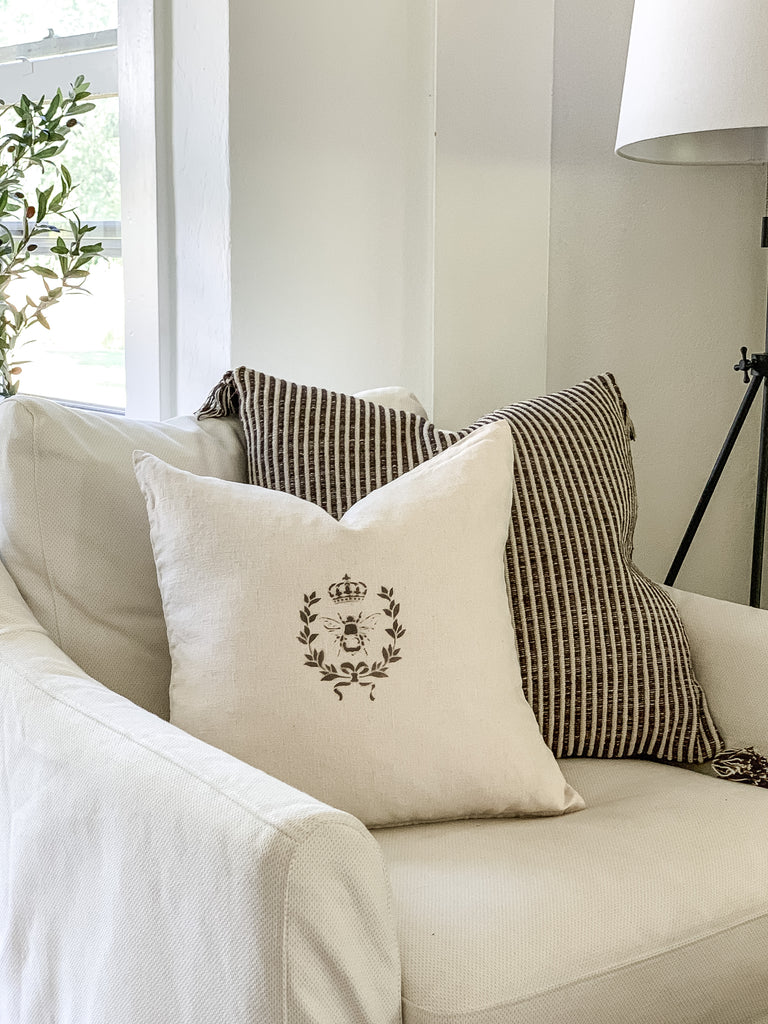 White Linen French Queen Bee Pillow