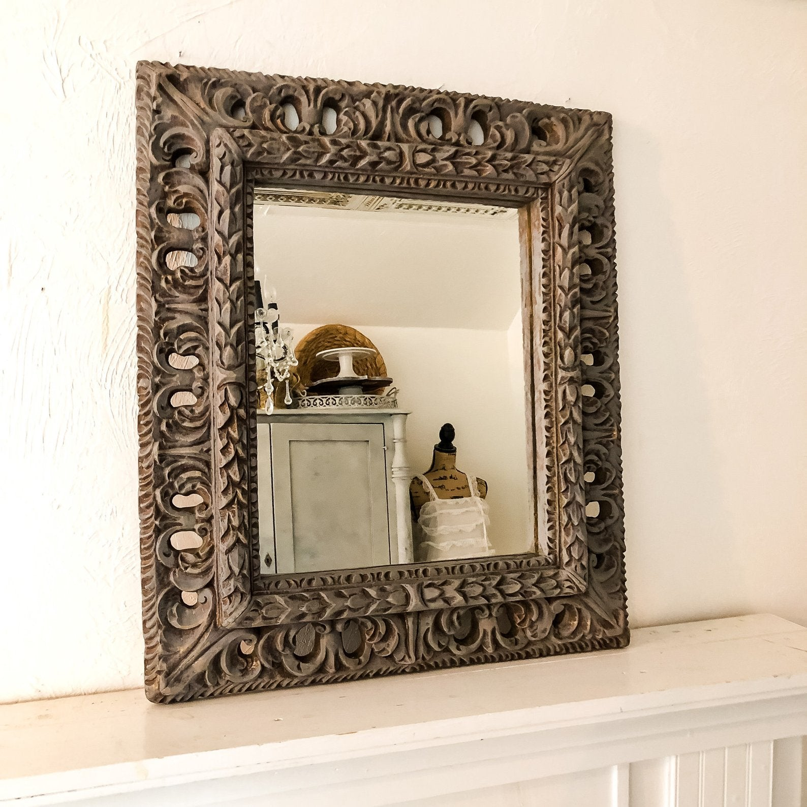 Distressed Gray Wood Framed Mirror Hallstrom Home