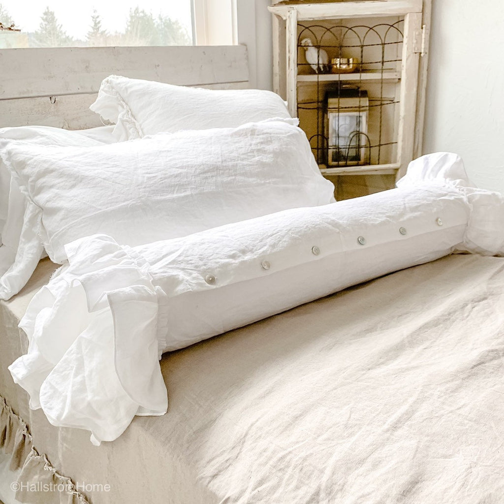 White Linen Ruffle Bolster Pillow Cover