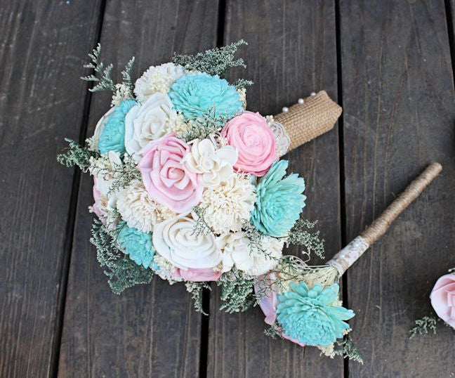 Bridal Bouquet -Sola Wood Flowers, Turquoise Blush Ivory