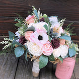 Sola Flower Artificial Succulent Bridal Bouquet - Silk Flowers, Anemones, Cottage Roses, Eucalyptus