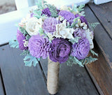 Luxe Collection Bridal Bouquet- Purple, Sola Flowers, Dusty Miller