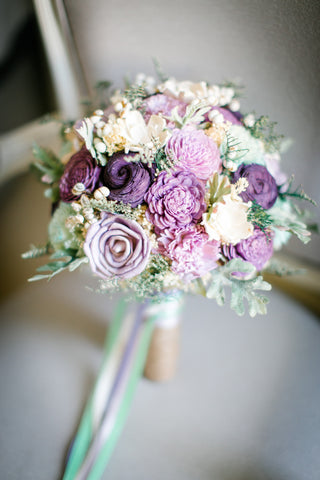 Bridal Bouquet - Sola Flowers, Dusty Miller, Purple Wedding Flowers