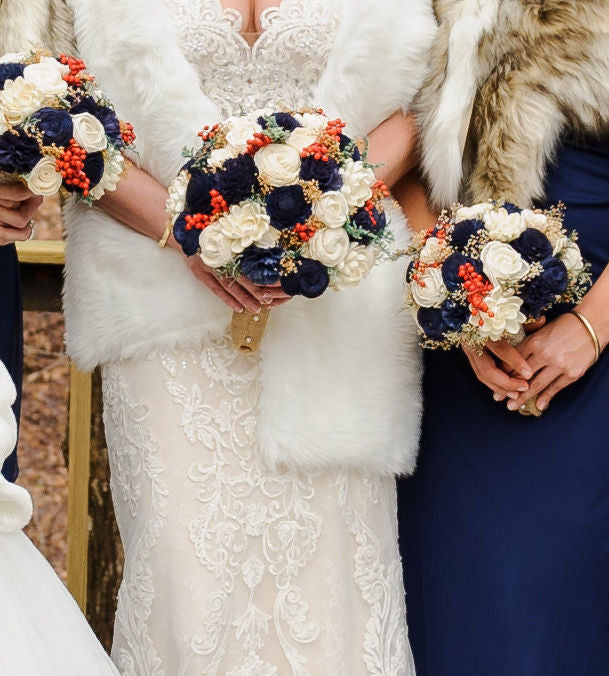 Sola Wood Flower Wedding Bouquet - Ivory Navy, Preserved Red Berries, Keepsake Bouquet