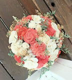 Luxe Collection Bridal Bouquet- Coral, Ivory, Sola Flowers, Silver Brunia