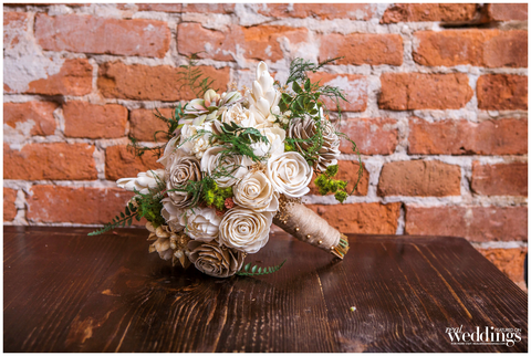 Silk & Sola Wood Flower Bridal Bouquet- Faux Succulents, Anemonies, Cottage Roses, Hops, Seeded Eucalyptus, Wedding Flowers