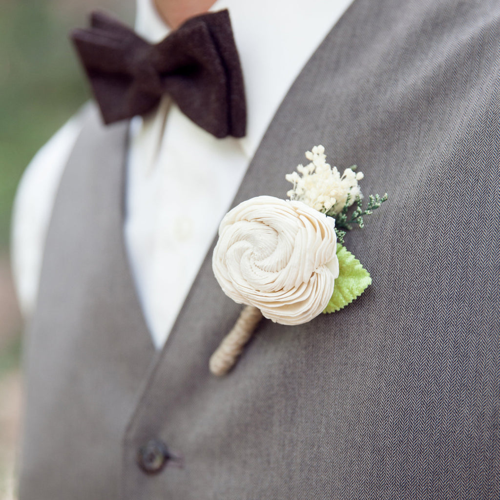 Ivory Sola Flower Boutonniere Groom Wedding, Buttonhole, Groomsmen, Wedding Flowers