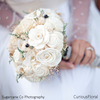 Wedding Bouquet - Vintage Collection, Large Ivory Lace Black Keepsake Alternative Bouquet