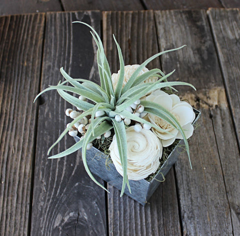 Artificial Succulent arrangement, centerpiece, midcentury modern galvanized metal vase, home decor, sola flowers, house warming, wedding