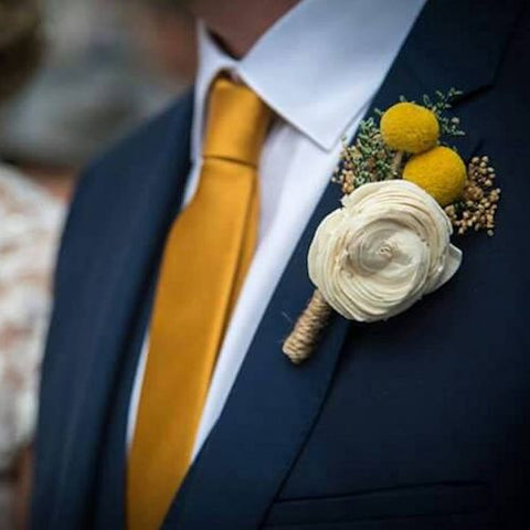 Boutonniere Made to Order- Luxe Collection, Ivory Sola Flower Yellow Billy Button Groom Wedding, Buttonhole, Groomsmen, Wedding Flowers