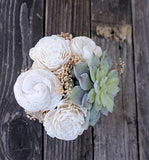 Artificial Succulent arrangement, centerpiece, midcentury modern white ceramic vase, home decor, sola flowers, house warming, wedding